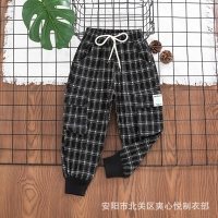 China ODM Black And White Grid Girls Full Length Pants wholesale