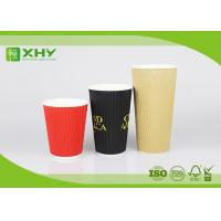 China 24oz Corrugated Bigger Recycled Ripple Paper Cups With Neutral Red Black Color Printing wholesale