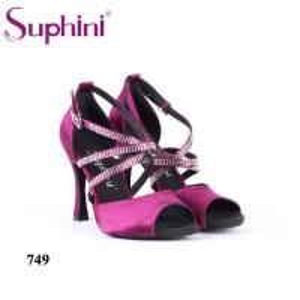 China Suphini diamond tie purple satin high heel latin dance shoes wholesale