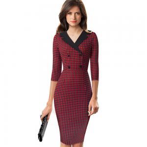 China Formal Bodycon Womens Casual Dresses Long Sleeve MIDI Pencil Dress Custom garment manufacturers China wholesale