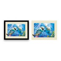 China Home Decoration 3D Lenticular Printing Service 12x16 Inch Framed Dolphin Picture Wall Arts wholesale