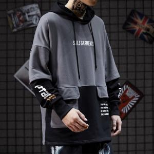 China ODM Fake Two Piece Punk Men Cool Hoodies Anti Pilling 80% Cotton 20% Polyester wholesale