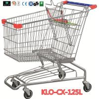 China Metallic Distribute Store / Grocery Shopping Trolley With Custom Logo On Handle 125L wholesale