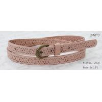 China Old Brass Buckle Pink PU Ladies Stretch Belts With Punching Patterns wholesale