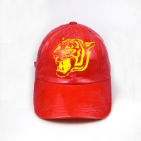 China Speical material polyester leather custom printed tiger logo red metal sunday buckle baseball caps wholesale