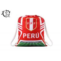 Quality Custom World Cup Printed Drawstring Backpack Peru Team Sublimation  Gym Bag for sale
