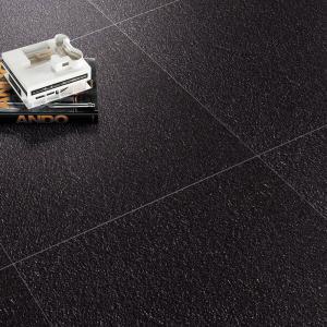 China Black Unglazed Pure Color Porcelain Tiles 600x600mm Rustic Kitchen Floor Tiles on sale