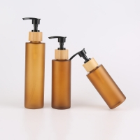 China 130ml Amber Frosted Pet Plastic Bottles With Lotion Spray wholesale