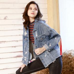 China custom clothing factory China Printed Personality Ladies Jackets Coats BF Loose Fit Denim Jacket wholesale
