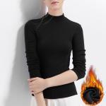 Plus Velvet Full Sleeves T Shirts For Womens , Womens Plain Long Sleeve T Shirts Light Weight