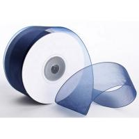 China 1 . 5 Inch Plain Polyester Organza Ribbon Dark Blue / Red Color Satin Edge wholesale