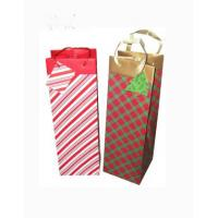 China Custom Made Promotional Cheap Paper Wine Bottle Bag With PP Handles on sale