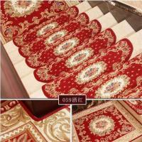 China Red Traditional PVC Carpet Flooring , Oval Shape Stair Tread Rugs wholesale