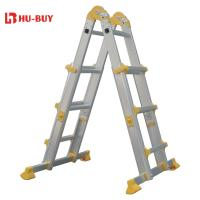 China Portable  Aluminium Step Ladder PP Feet 4x3 Collapsible Extension Ladder wholesale