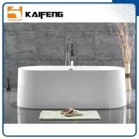 China Large Oval Acrylic Freestanding Soaking Bathtubs White Color With Overflow wholesale