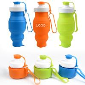 China Silicone Outdoor Sports Folding Water Bottle 530ml Logo Customized wholesale