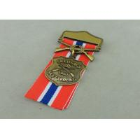China Zinc Alloy Military Awards Medals , 3D Die Casting Short Ribbon Medallions wholesale