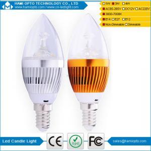 China E14 Epistar Frosted Bulb LED Candle light 3W AC85-265V DC12V sliver housing wholesale