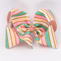 China Baby Girls Use Glitter Hair Ribbon Stripe Patterned Double Face Style wholesale