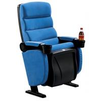 China Blue Fabric PP Theater Seating Chairs Movable Armrest Iron Metal Type wholesale
