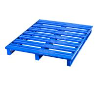 China Easily Cleaned Stackable Steel Pallets / Metal Pallet Box Two Side Forklift Enter on sale