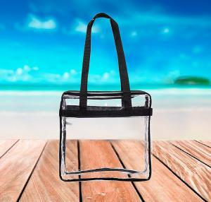 China Clear PVC Tote Bag Security Zippered Shoulder Bag With Adjustable Shoulder Strap wholesale