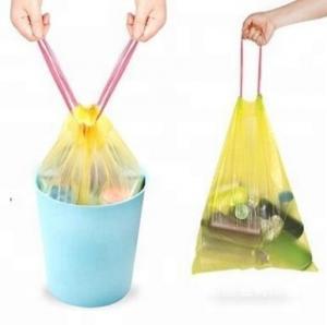 China Compostable LDPE Drawstring Garbage Bags Waterproof PP Rope 10-100microns wholesale