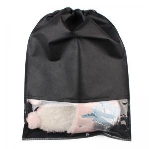 China Black Color Printing Logo Design Custom Drawstring Bags Lightweight Non Woven Cloth wholesale