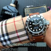 Buy cheap High Quality Replica Rolex Submariner Black Dial Brown Leather Strap Men's Watch from wholesalers