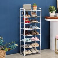 China 8 Tier Metal Mesh Shoe Rack White Color Powder Coating With Non - Slip Rods wholesale