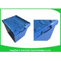 China Moving Crate Plastic Attached Lid Containers for Tool , Easy To Clean 75*57*62.5CM wholesale