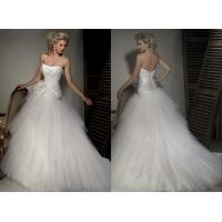 Details Of 2013 Wholesale A Line Strapless White Pleated Organza Princess Wed