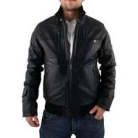 China XL XXXL XLL 100% polyester men Fleece Lined Leather jacket with fur collar wholesale