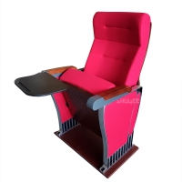 China Foldable Audience Seating PU Molded Foam Anti Stained Auditorium Chairs With Writing Board wholesale