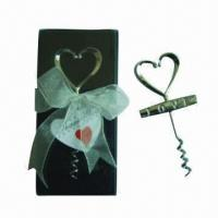 China Heart-shaped wine bottle corkscrew in PVC case with thanking card and ribbon (wedding gift) on sale