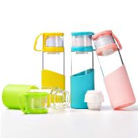 Quality Pure Double Caps BPA Free Glass Water Bottles With Lid / Silicone Sleeve for sale