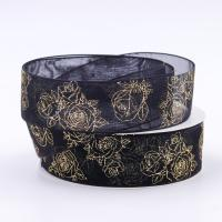 China Double Face Metallic Glitter Ribbon Multi Color Hot Stamping Printing wholesale