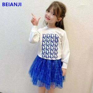 China BEIANJI 2PCS Blue Printed Kids Hoodless Sweater Long Sleeve Girls Tops wholesale