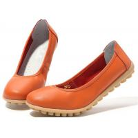China Low Heeled Leather Comfortable Casual Shoes Flat Gum Rubber Outsole Womens Shoes wholesale