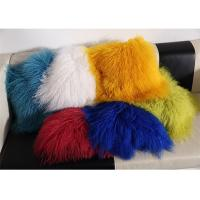 China Red / Blue 18 Inch Long Sheep Fur Pillow , Mongolian Fur Outdoor Throw Pillows  wholesale