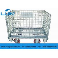 China Zinc Finish Rigid Rolling Metal Mesh Cage With Foot Brakes / Castors wholesale
