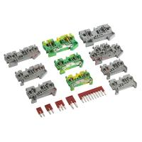China Din Rail Grouding Earth Screwless Cage Spring Terminal Blocks Two Color Replace Phoenix wholesale
