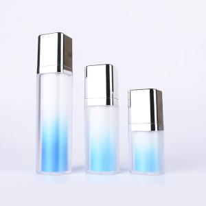 China Sky Blue Lotion Inner Twist Up Pump Cosmetic Packaging Bottles 15ml 30ml 50ml wholesale