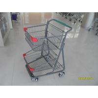 China Two Deck Basket  Shopping Trolley Cart With Grey Powder Coating Surface Treatment wholesale