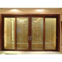 China 2.0mm profile thickness red sandalwood sound insulation aluminum sliding glass doors on sale