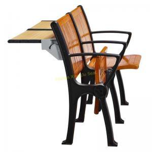 China Walnut Wood Interlocked Folding Up Metal Leg Amphitheater Chairs With Hidden Table wholesale