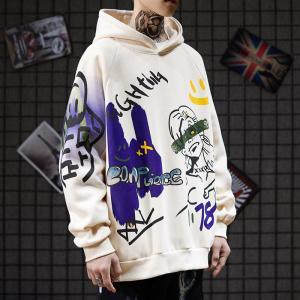 China Dark Street Spoof Personalised Graffiti Hoodies Cartoon Baggy Hip Hop Pullover wholesale