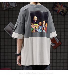 China Color Matching Round Neck Men Streetwear T Shirts Sublimation Logo wholesale