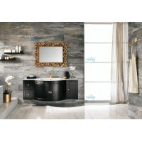 China High Level All Wood Vanity , Black Wood Bathroom Vanity With White Marble Countertops wholesale