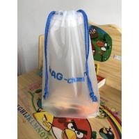 China Printed CPE Clear Drawstring Plastic Bags / Custom Made Plastic Travel Cosmetic Bag wholesale